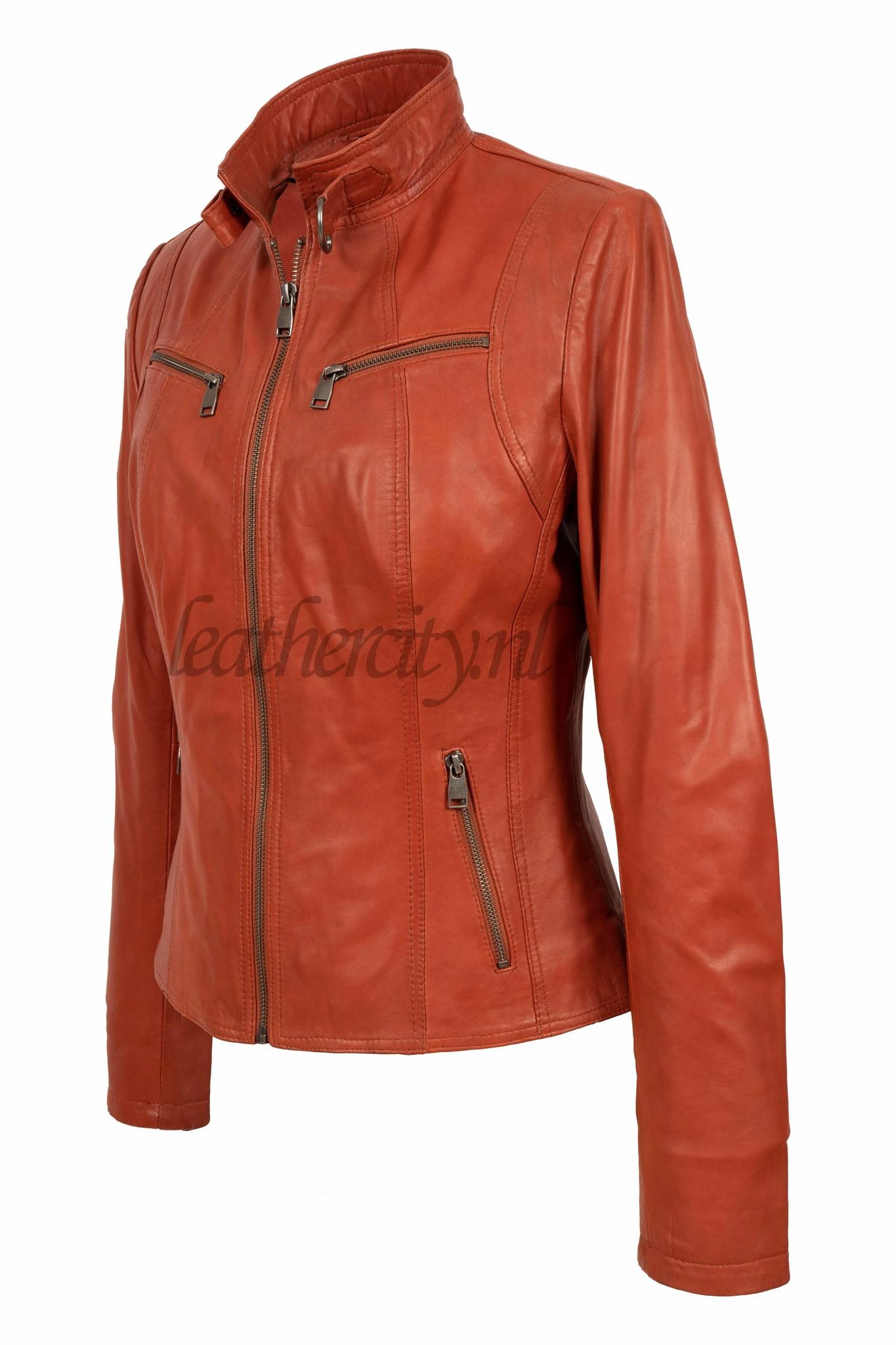 Dames leren jasje orange