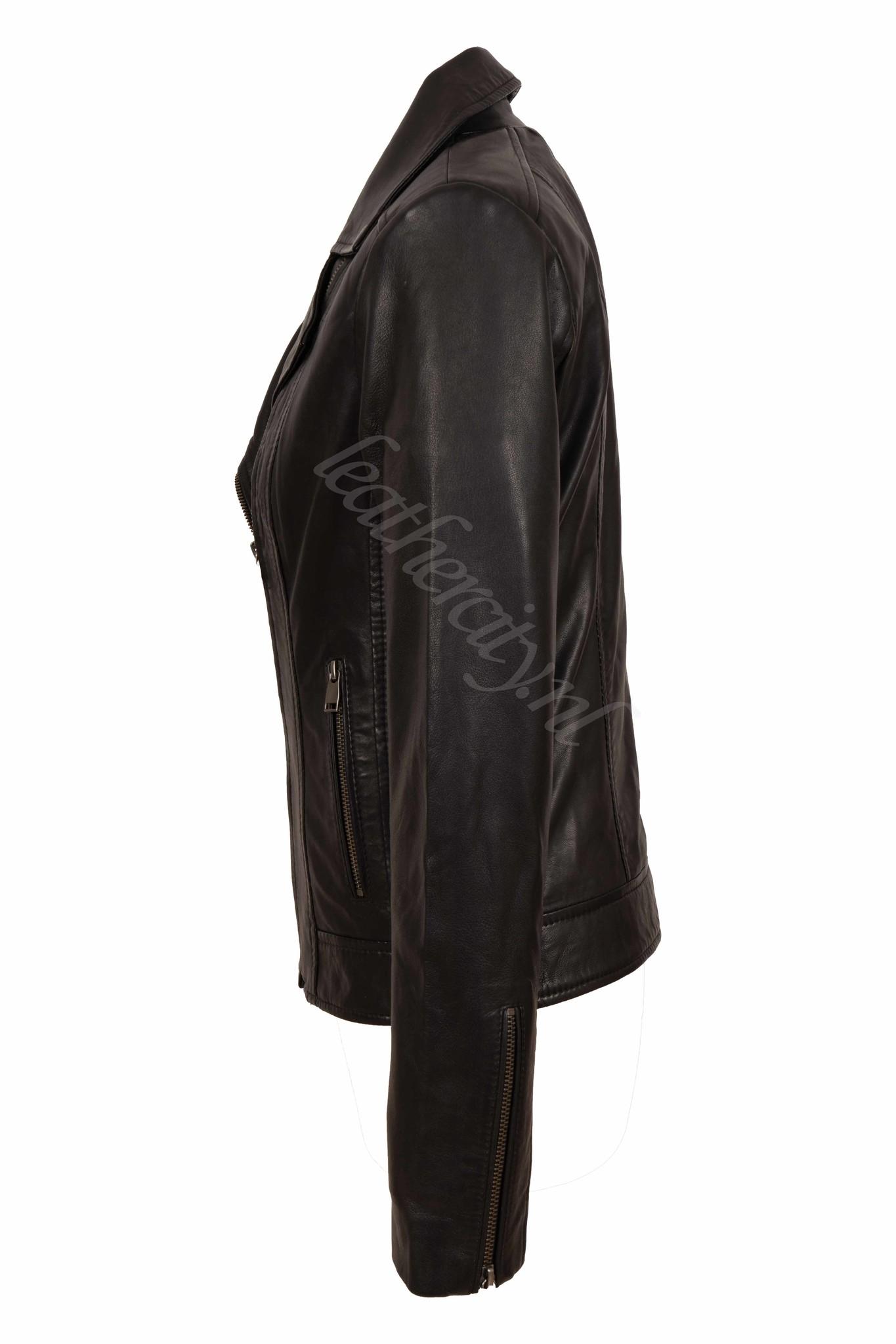 Dames leren jasje zwart  norm