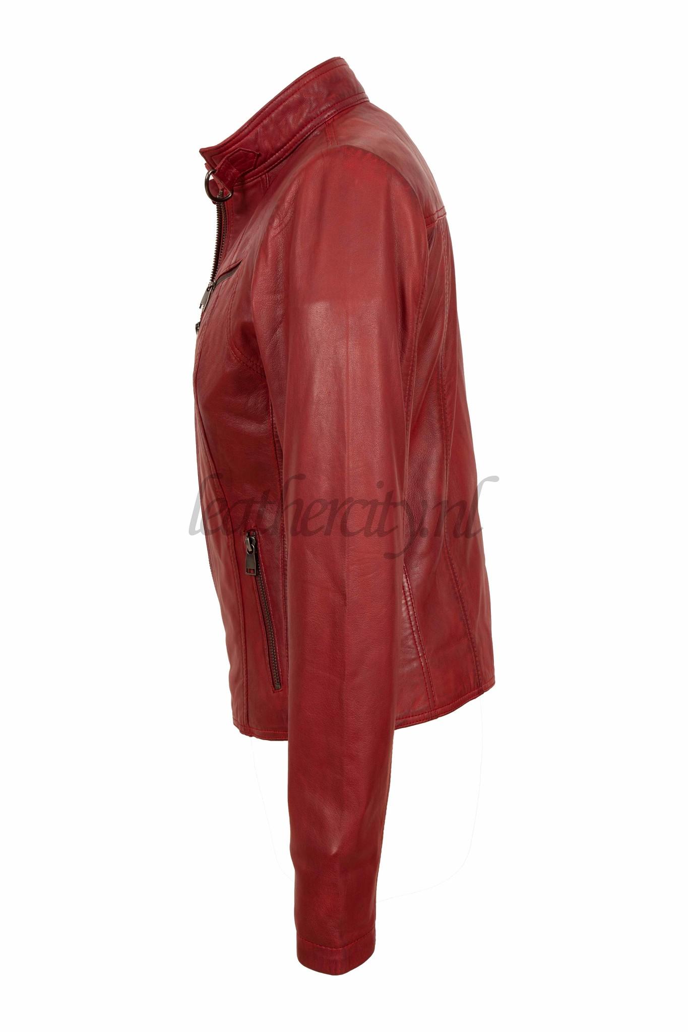Dames rood leren jasje Lv