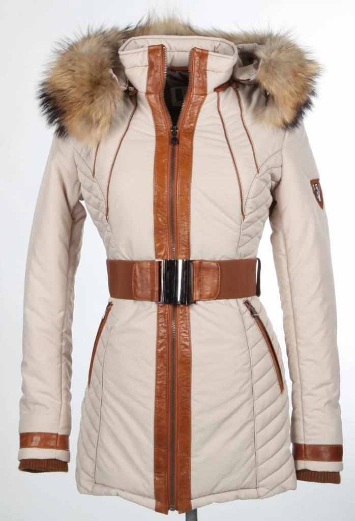Milan Ferronetti Dames winterjas met Bontkraag Model 1 beige.