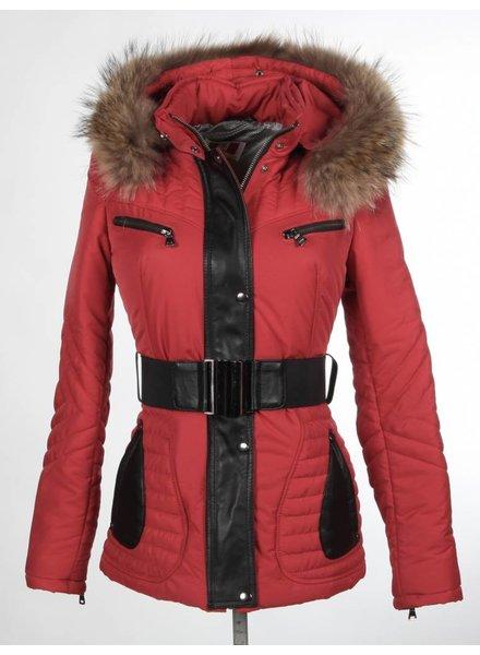 Milan Ferronetti Dames winterjas met Bontkraag Model 2 rood.