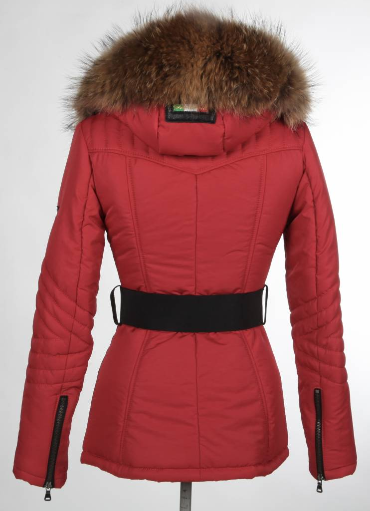 Milan Ferronetti Dames winterjas met Bontkraag Model 2 rood