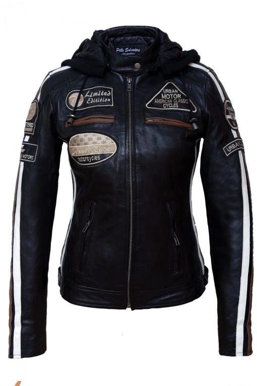 Dames bikerjack zwart