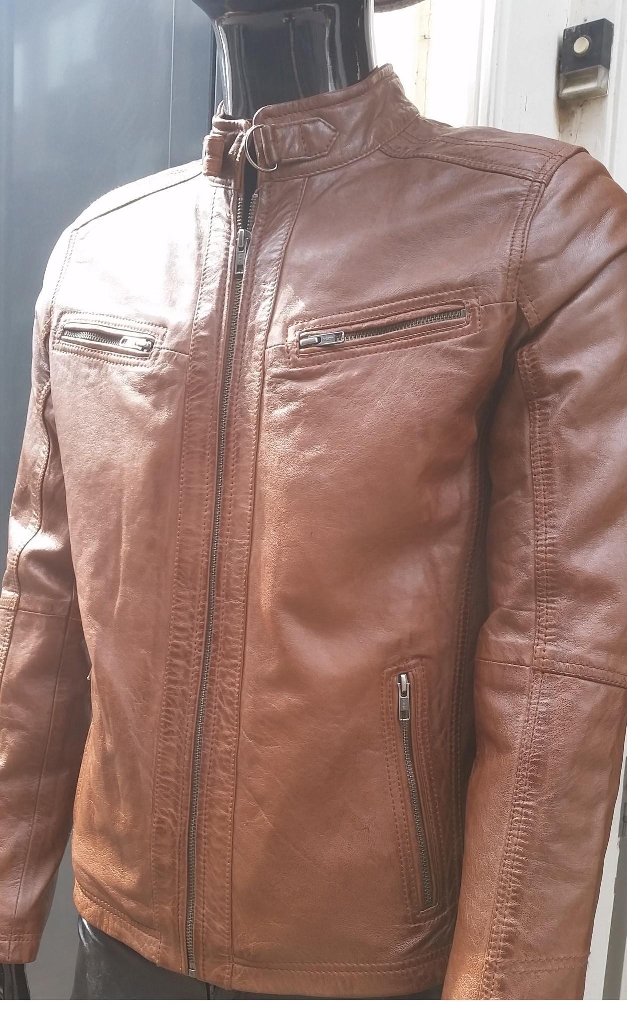 Leren biker jas heren bruin
