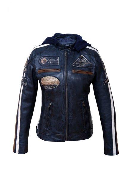 Dames leren biker motor leren jas blauw