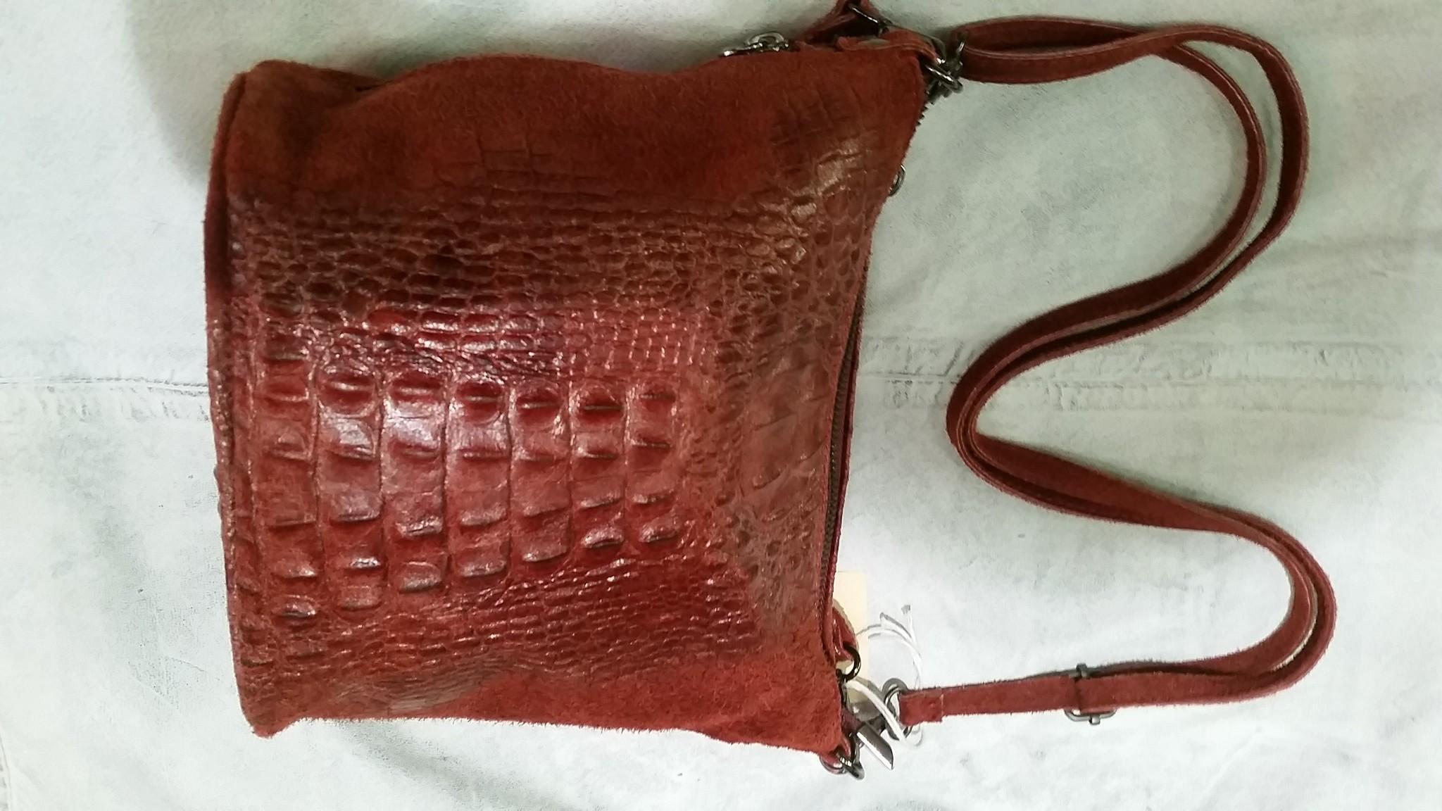leren tas Bruin rood dames leren tas