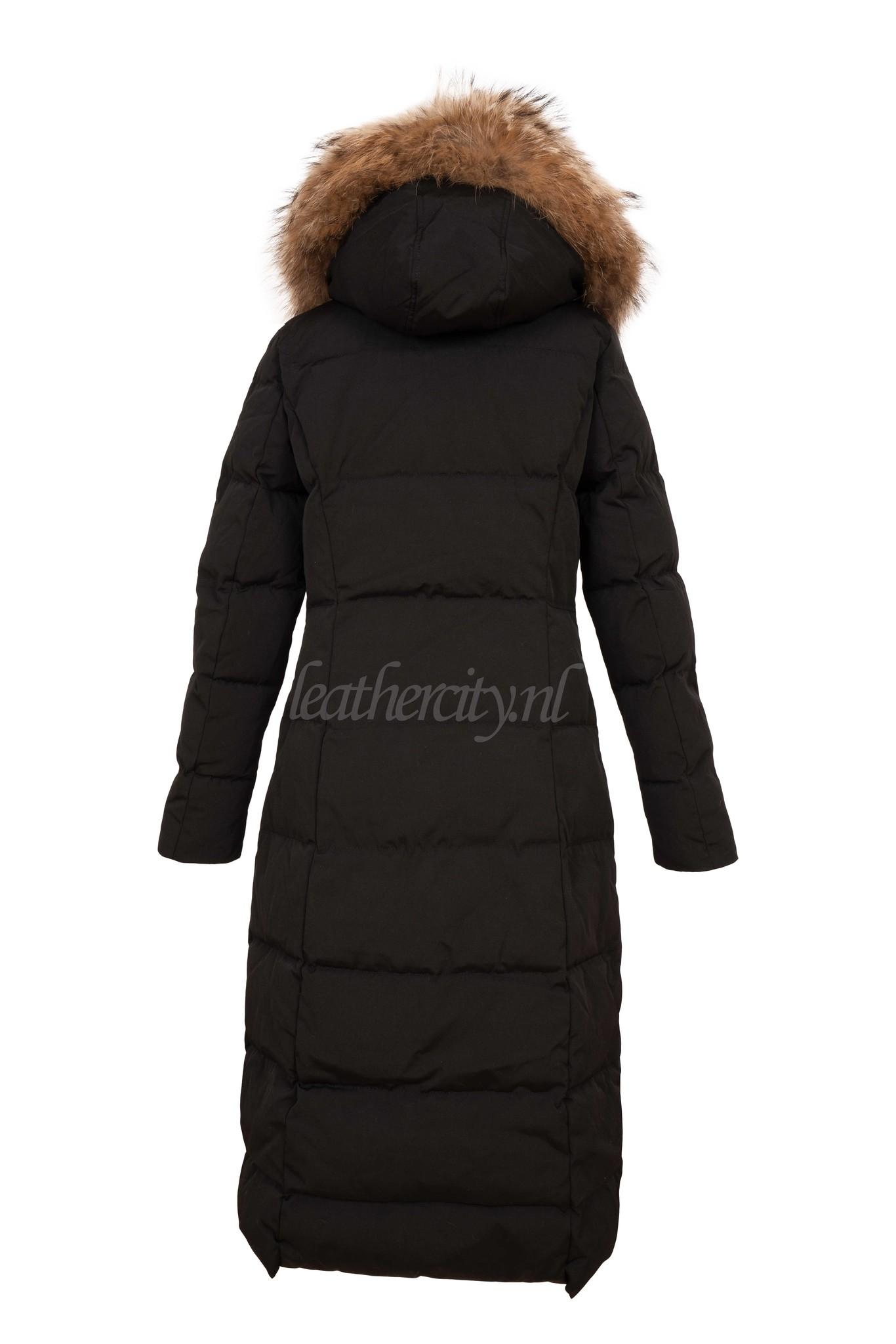 Attentif Dames winterjas zwart parka lang