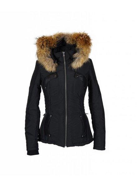 Milan Ferronetti Dames winterjas met Bontkraag vera zwart