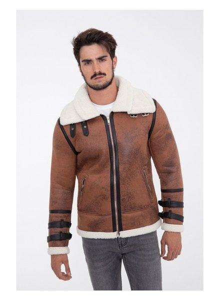 Heren imitatie lammy coat bruin kort