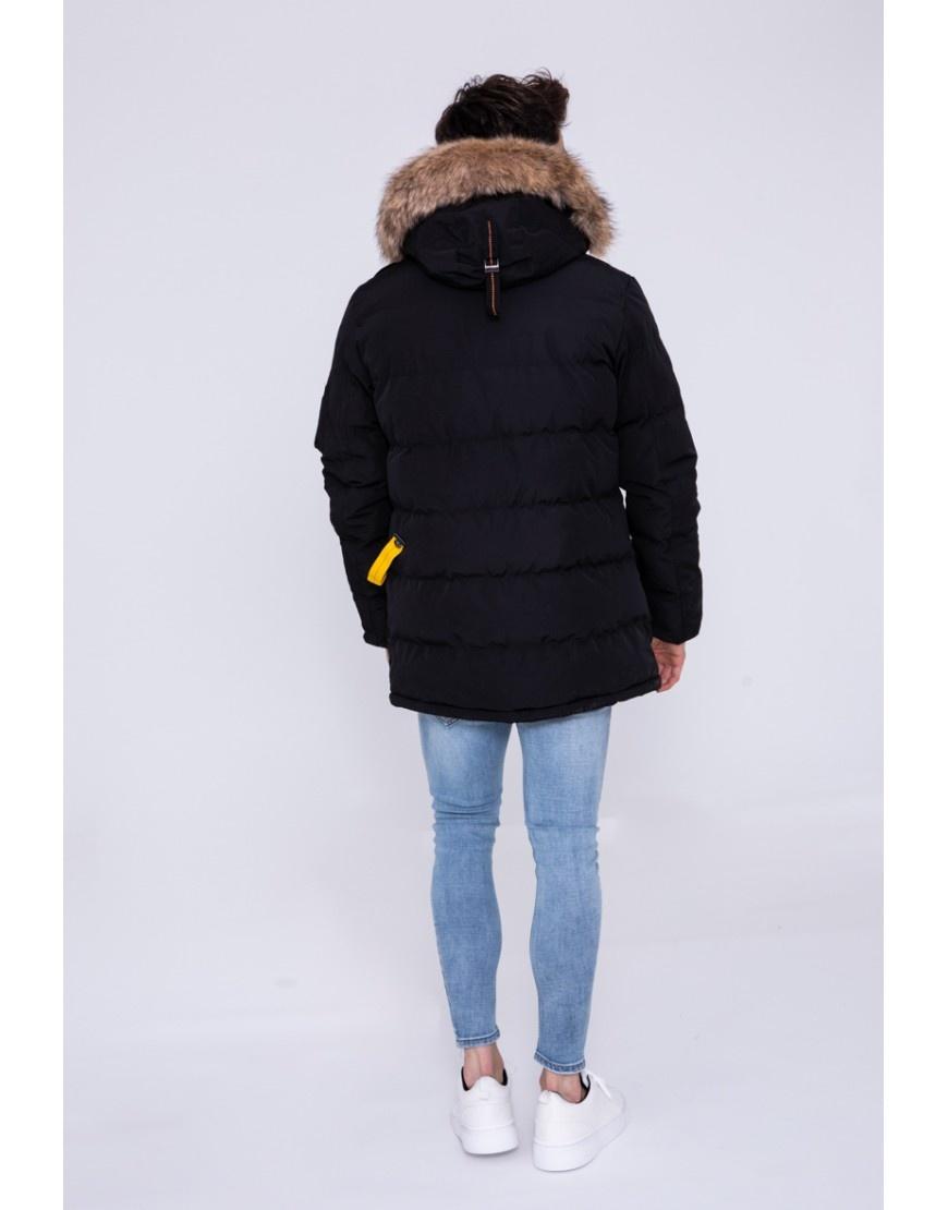 Heren winterjas zwart met bontkraag