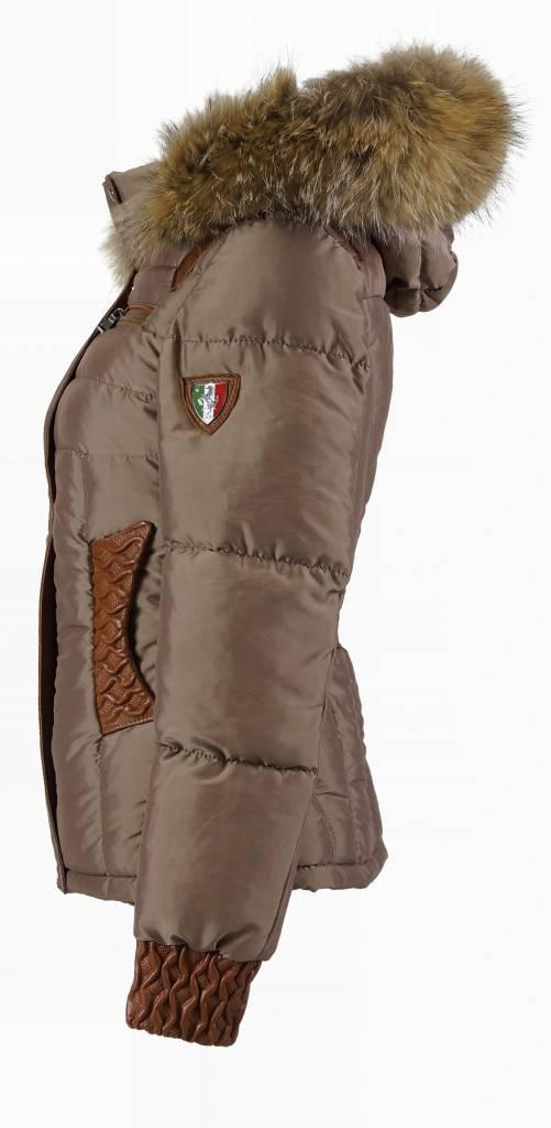 Milan Ferronetti Dames winterjas met Bontkraag model 88 bruin