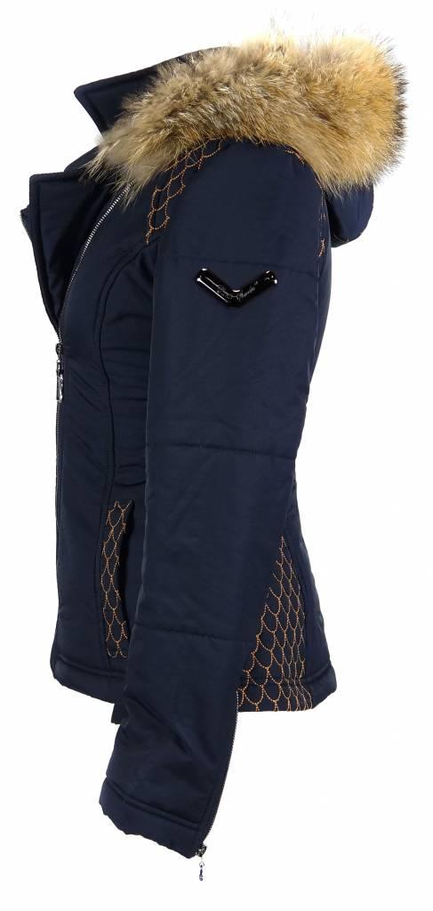 Carlo Sacchi Dames winterjas met Bontkraag model 66 blauw
