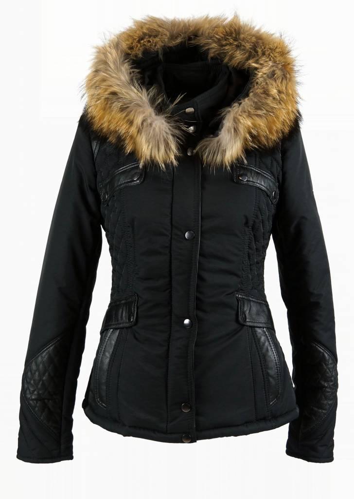 Carlo Sacchi Dames winterjas met Bontkraag model Zwart Elya