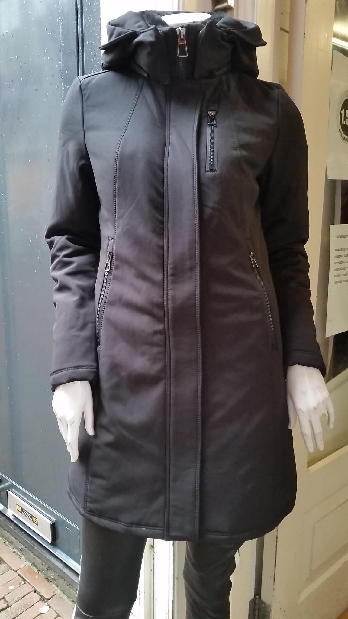 Laura Dames softsheel winterjas zwart V1