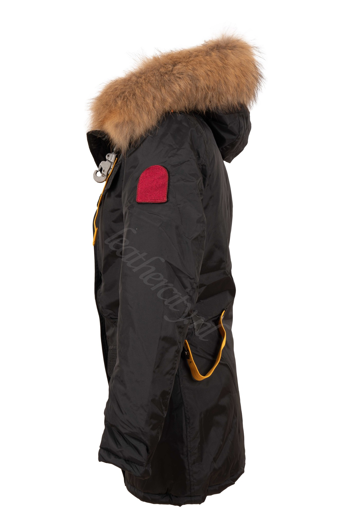 Dames winterjas met bont zwart PJ half lang