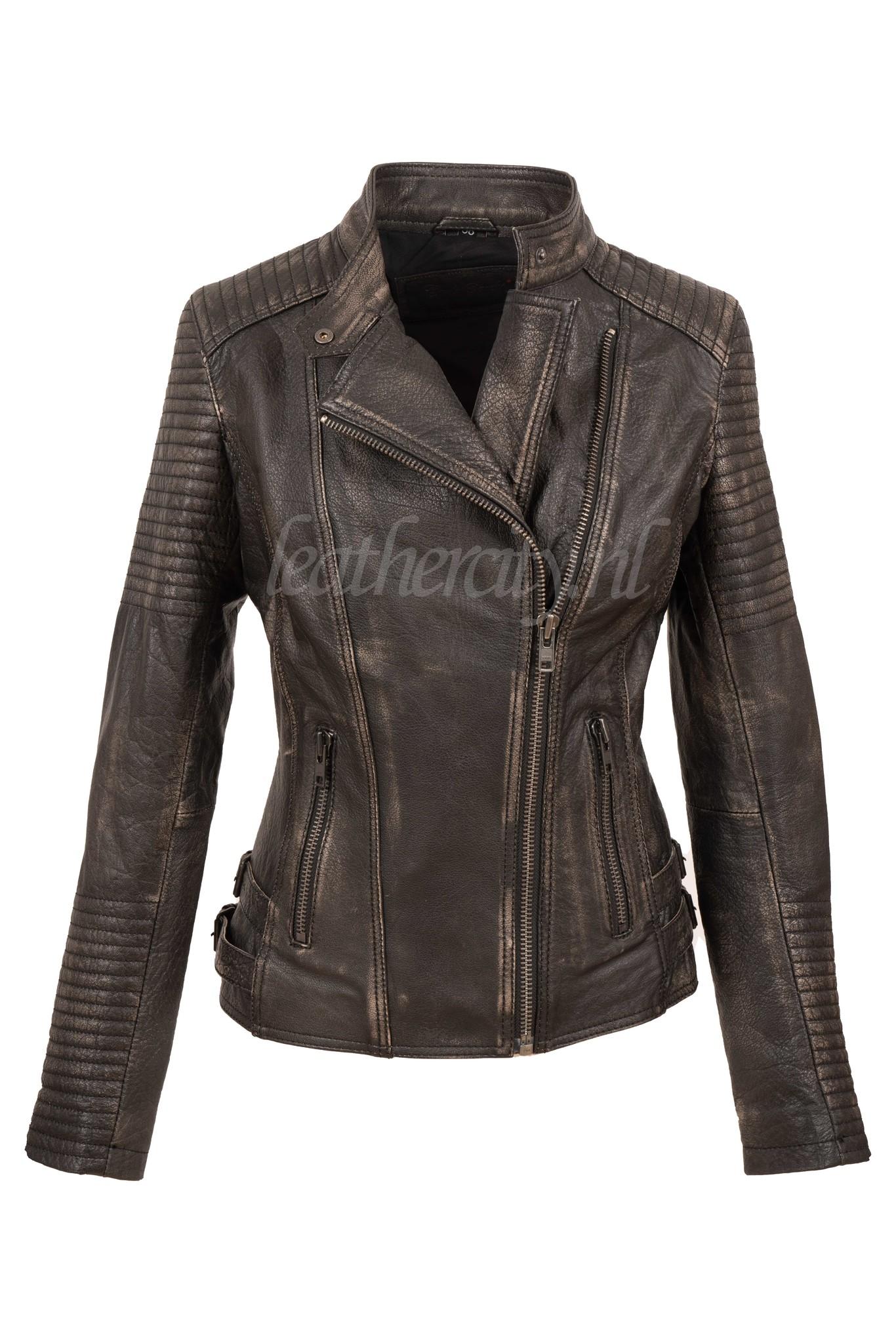 Carlo Sacchi Leren biker jas dames  zwart bruin