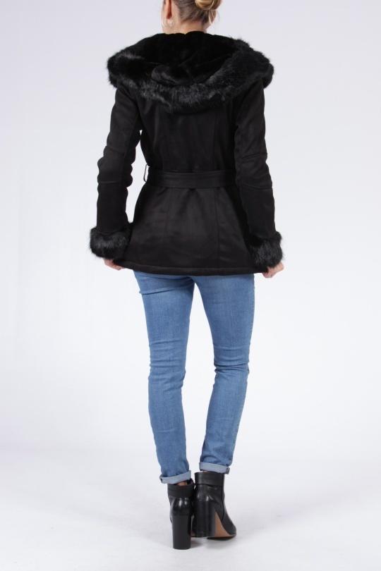 Dames imitatie lammy zwart met riem