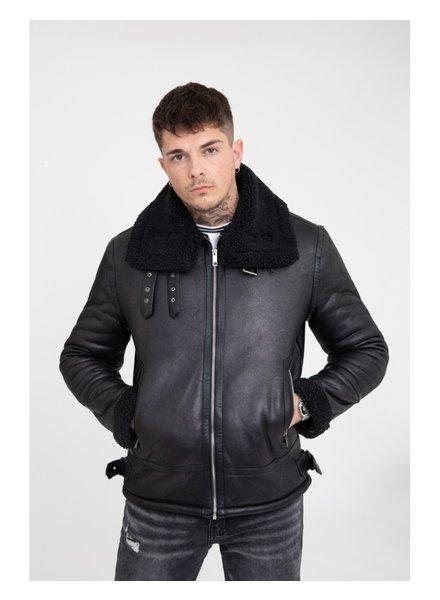 Heren imitatie lammy coat zwart kort