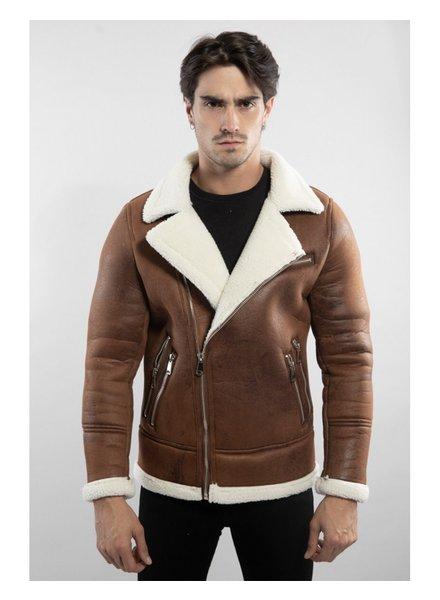 Heren imitatie lammy coat bruin schuin rits