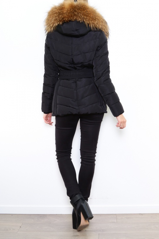 Attentif Dames winterjas kort zwart met riem