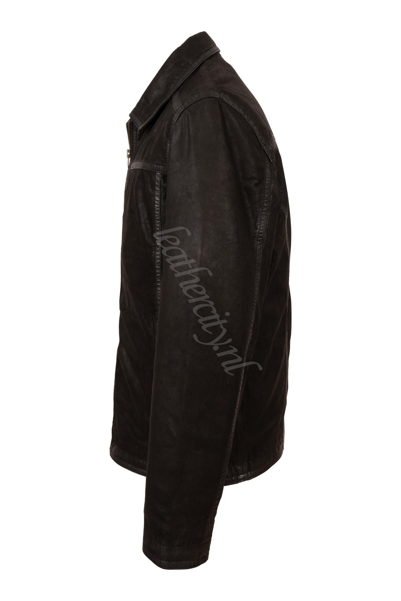 Heren winter leren jas zwart met afneembaar voering