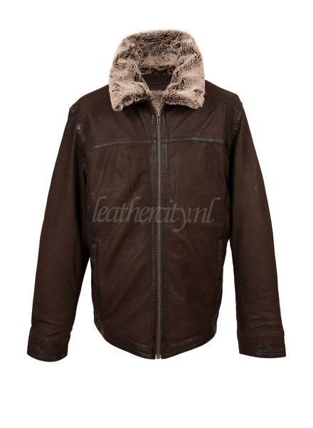 Heren winter leren jas bruin met afneembaar voering