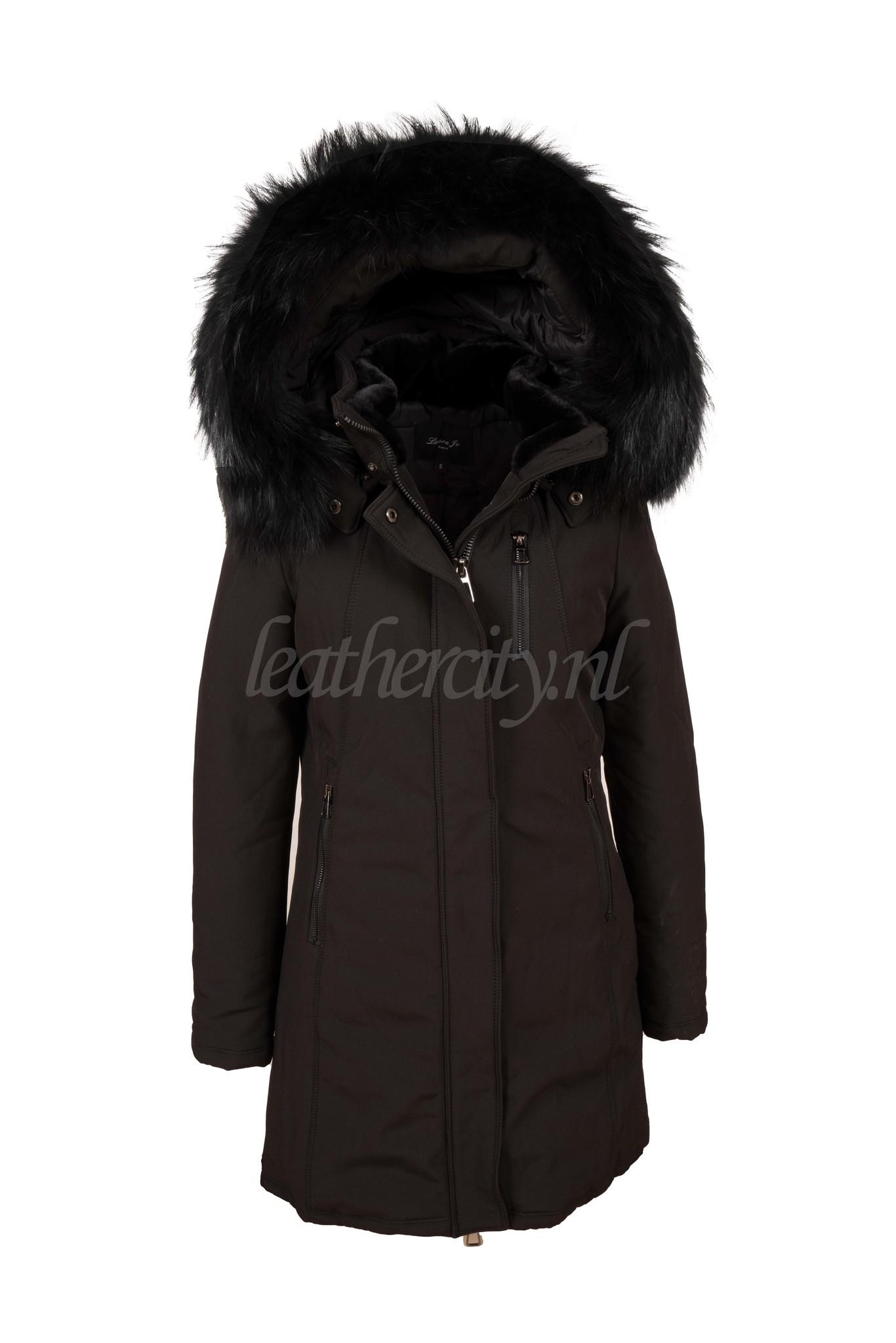 Dames winterjas softshell met groot zwarte bont