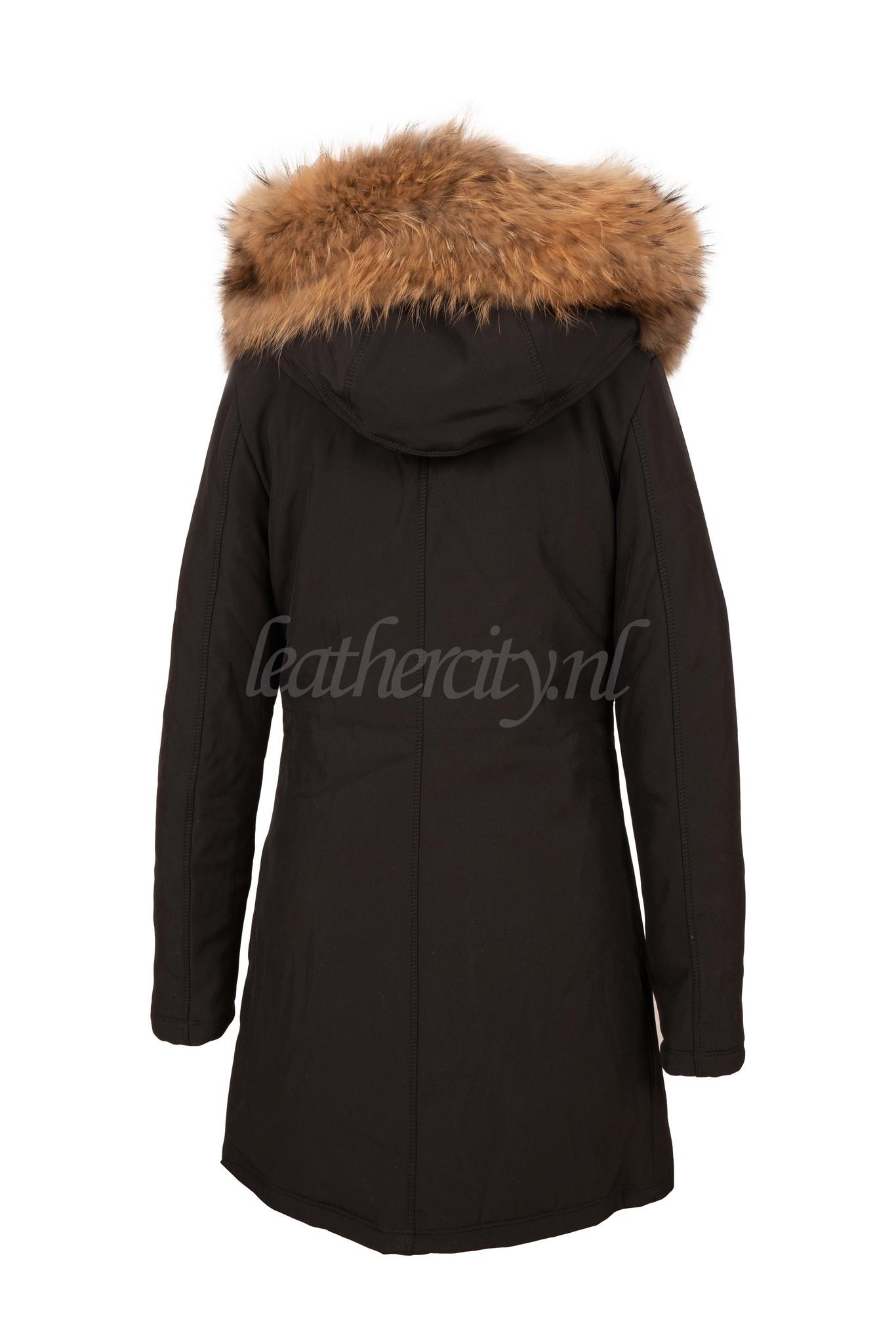 Dames zwart softshell winterjas met bont