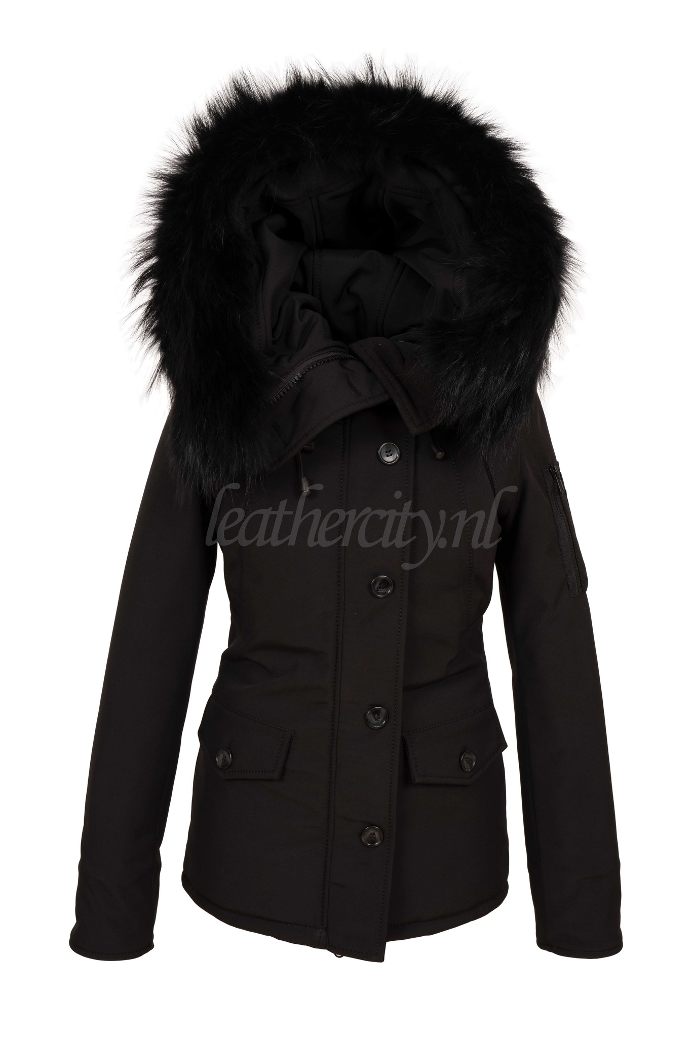 Carlo Sacchi Dames winterjas canada 2 met groot zwart bont
