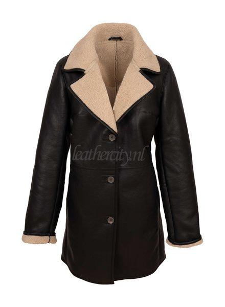 ARKS Dames lammy coat lang zwart