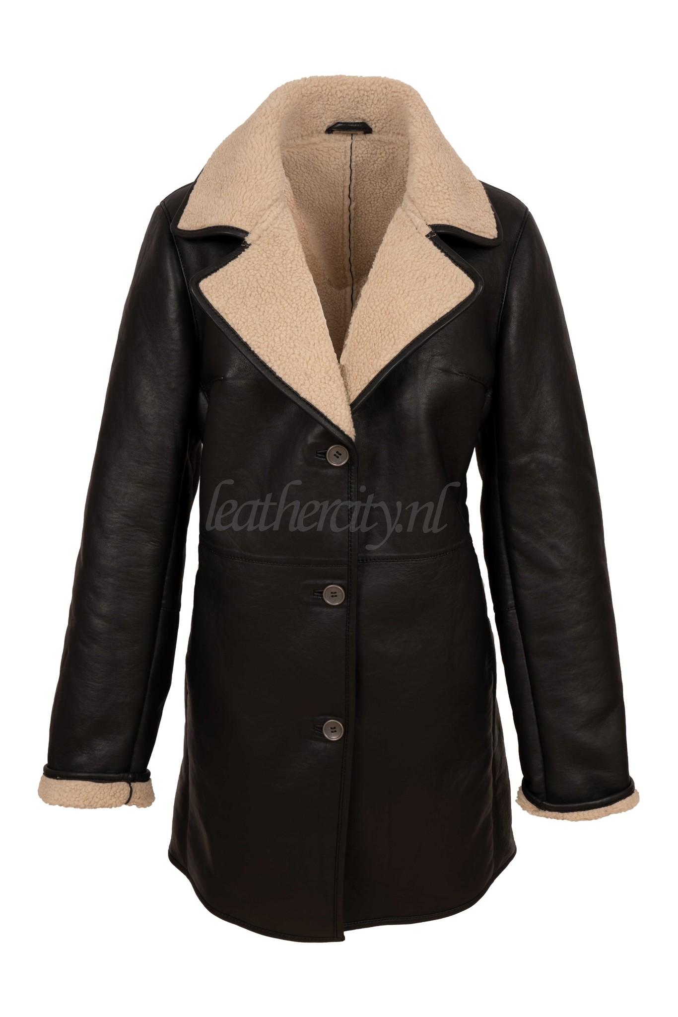Carlo Sacchi Dames lammy coat lang zwart