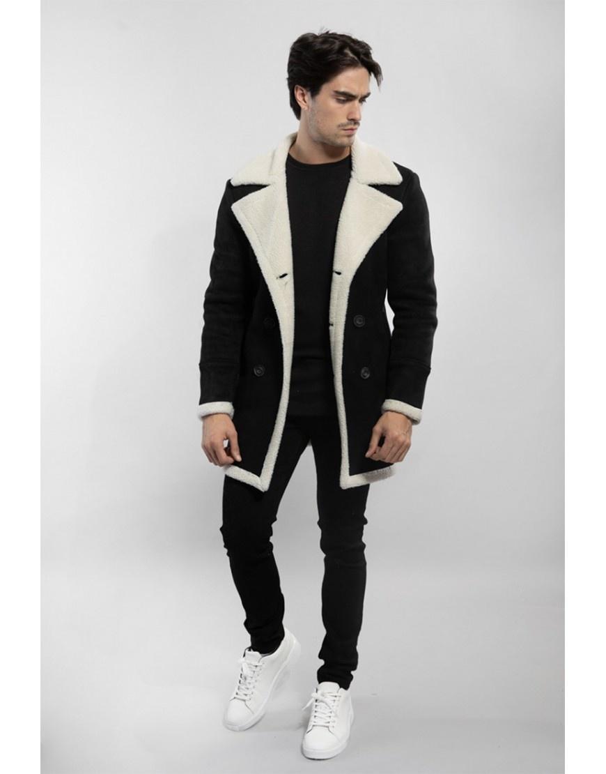 Heren imitatie lammy coat zwart