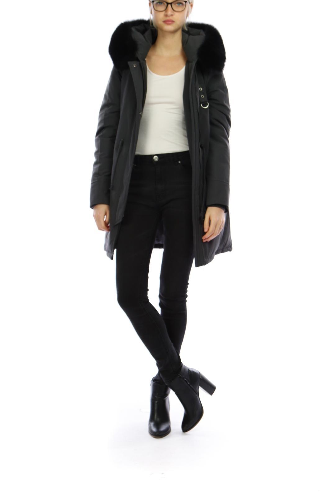 Attentif  Dames lang winterjas met zwart bont