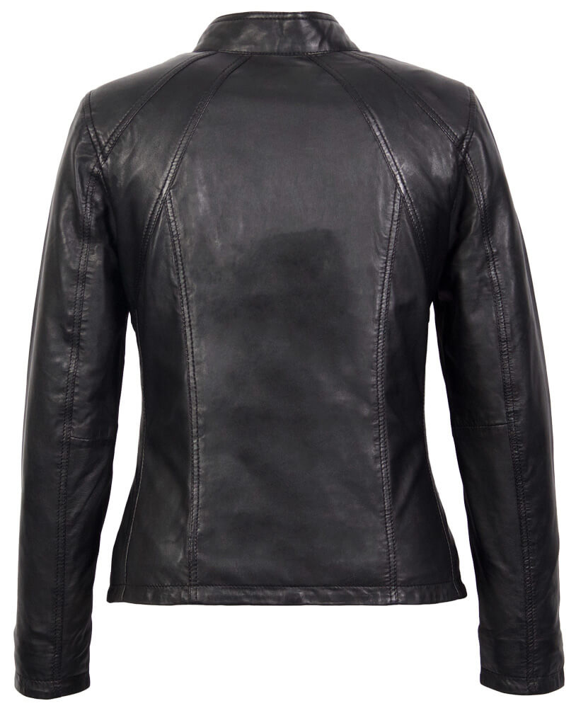 Carlo Sacchi Dames leren jas comfort zwart