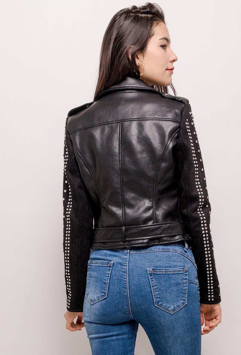 Dames leren imitatie jas zwart met studs