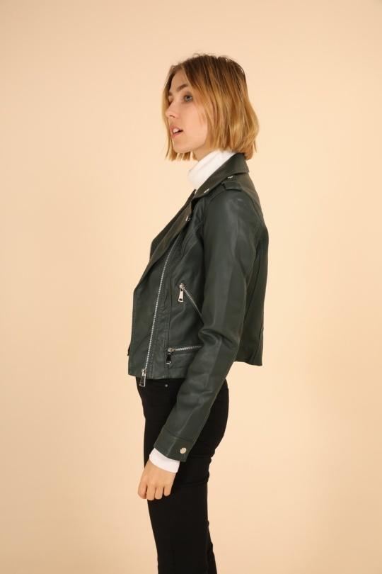 Lulu Dames imitatie leren jasje groen