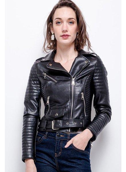 Dames imitatie leren biker jack zwart