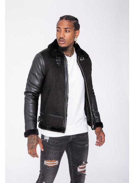 Heren lammy coat zwart