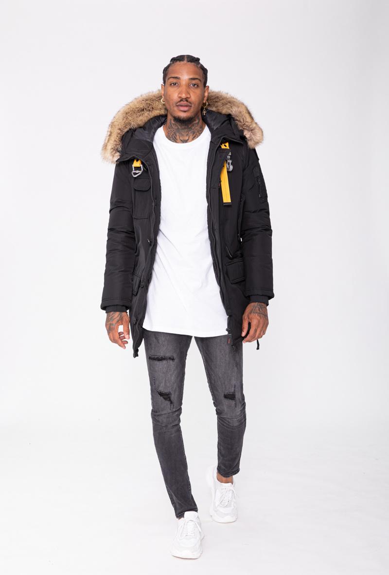 Heren winterjas para zwart met bont
