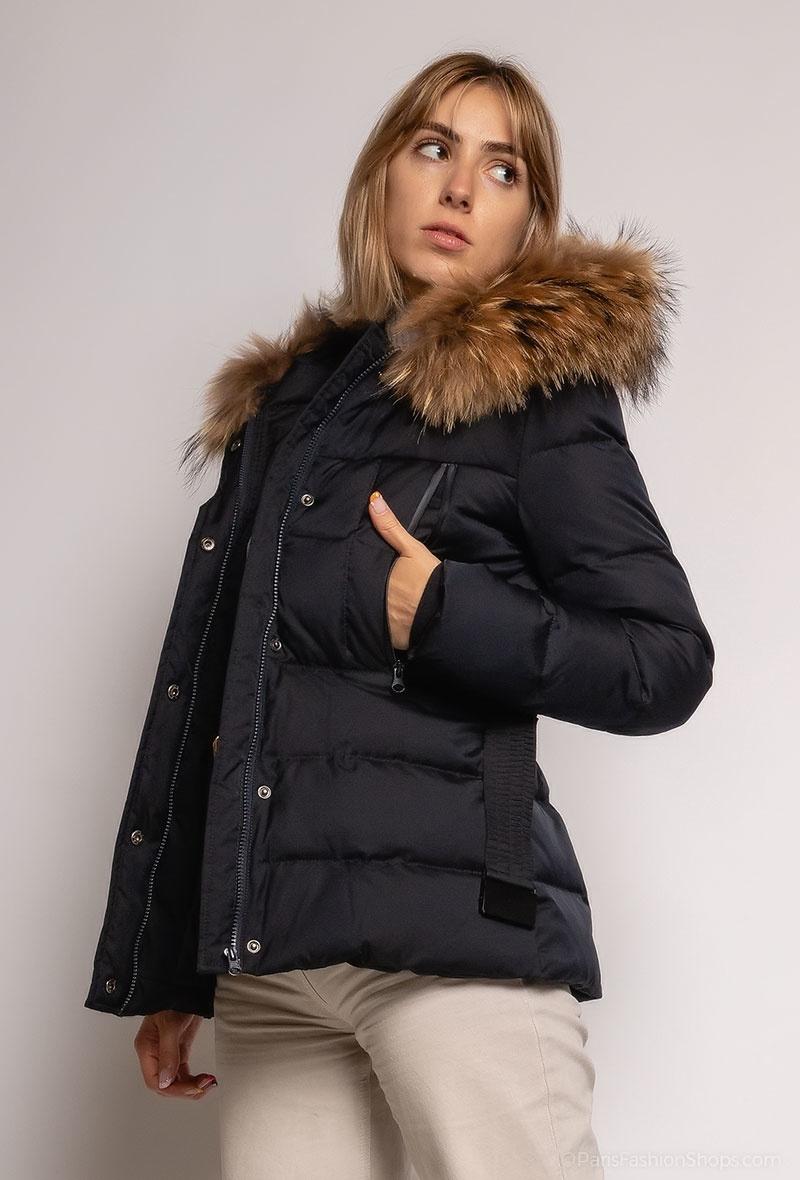 Attentif  Dames winterjas zwart met bont