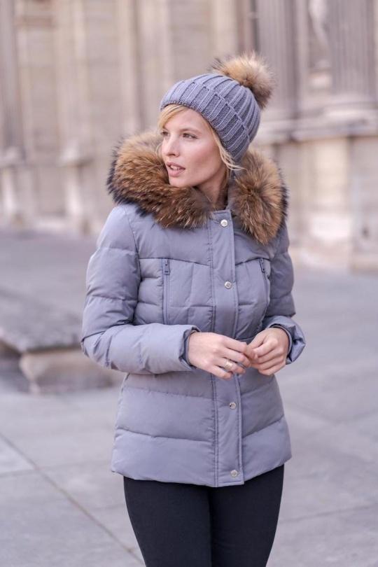 Attentif  Dames winterjas grijs met bont