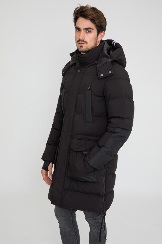 Heren lang winterjas zwart