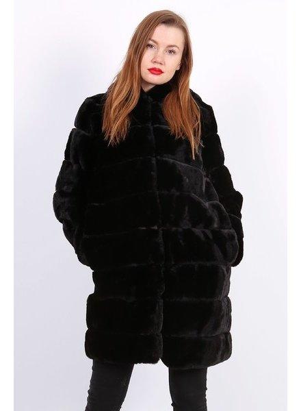 Lulu Dames lang bontjas zwart met capuchon