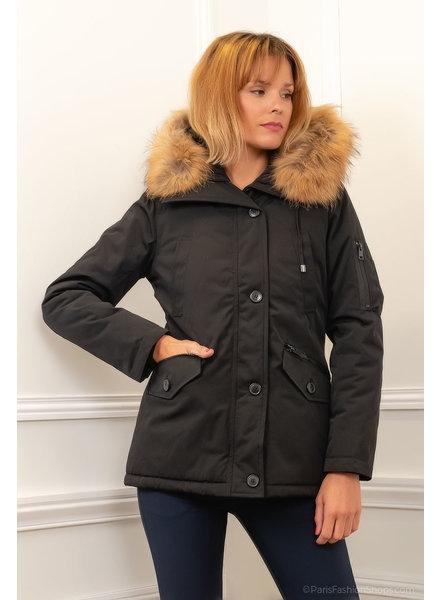 Attentif  Dames winterjas  met bontkraag  zwart Canada 4