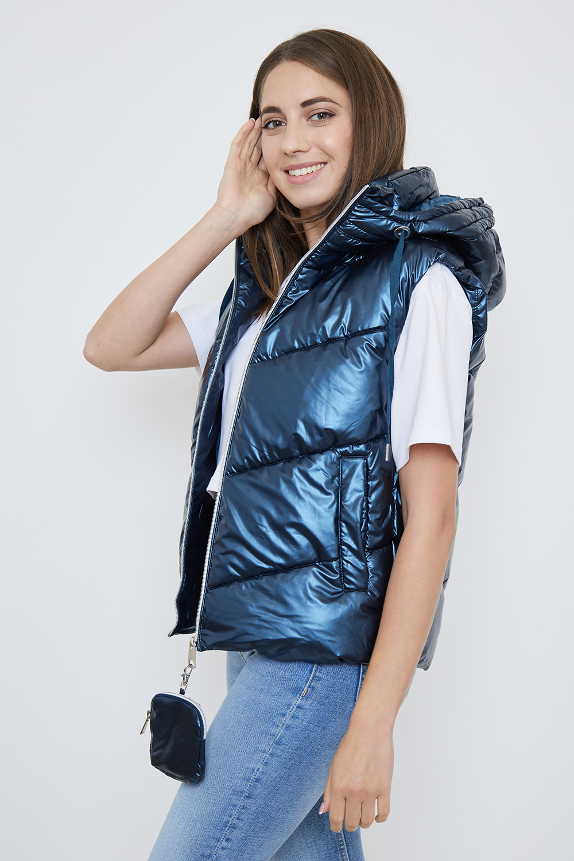 Dames bodywarmer metallic blauw