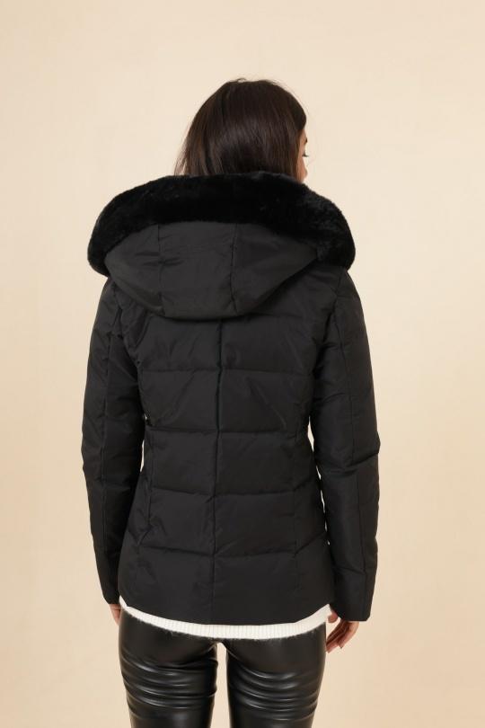 Kort winterjas zwart met bont