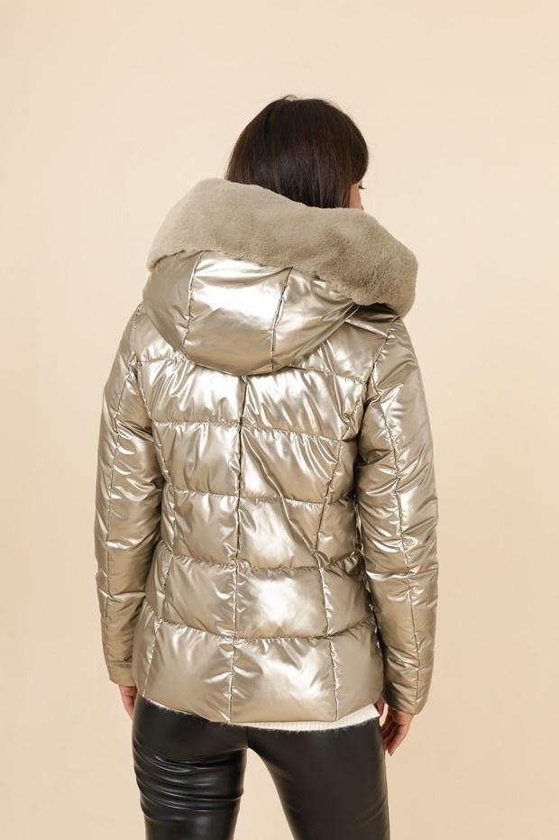 Dames winterjas metallic