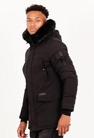 Heren winterjas zwart met zwart bont