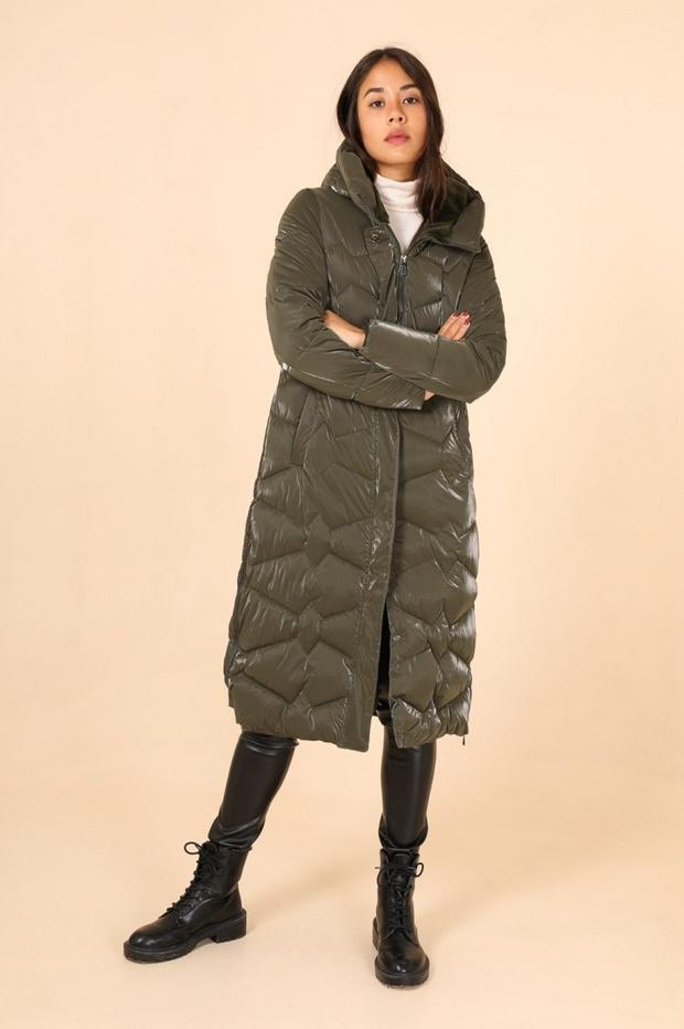 Laura Dames lang winter jas groen