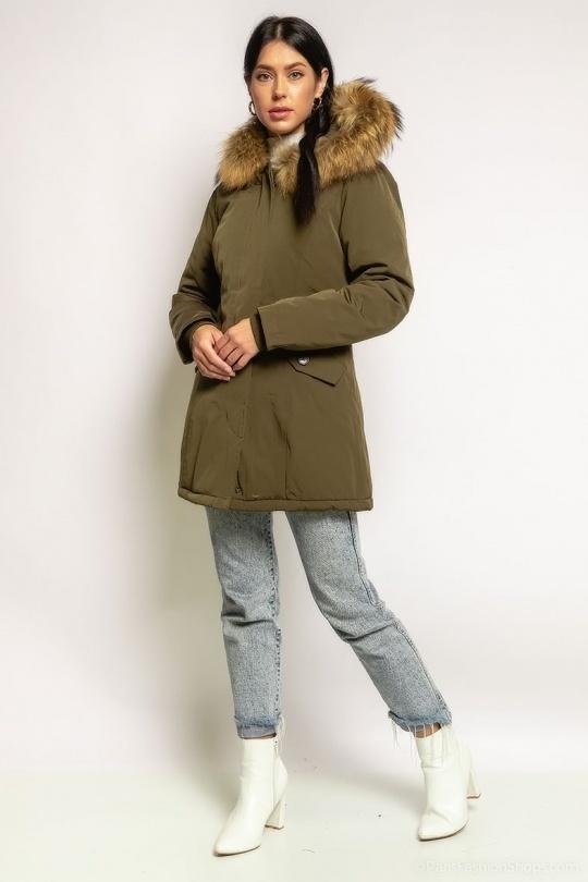 Attentif   Dames winterjas met bontkraag parka 2 groen